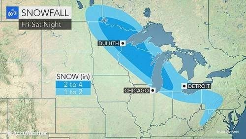 friday saturday snowfall upper midwest
