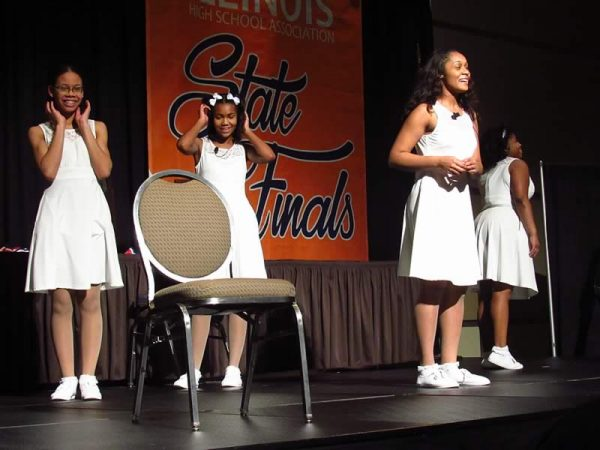 Southland College Prep PIR cast members (L to R) Trinity Price, Indya Gettings, Alexis Eiland and Angelica Ferguson