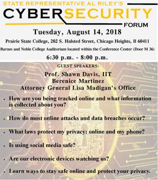 cybersecurity forum, Rep. Al Riley, Priarie State College, PSC