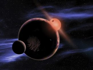 An artist's conception shows a hypothetical planet with two moons orbiting within the habitable zone of a red dwarf star.